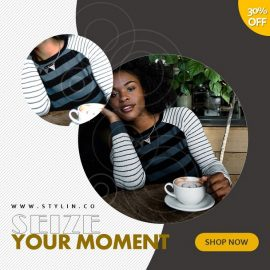 1:1 Striped Attires Video Ad | PowerPoint Design Template