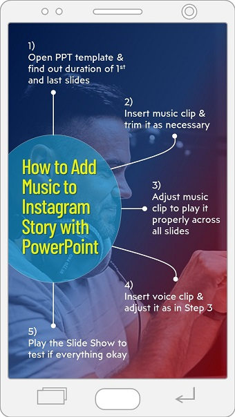 5 steps to add music to Instagram story video with PPT
