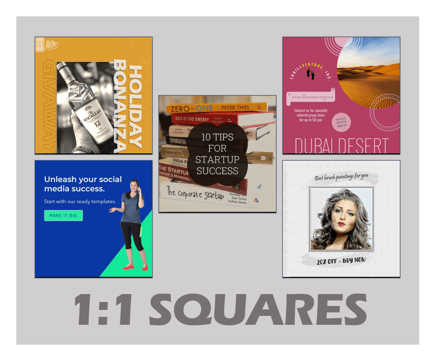 Buy 1:1 Square PowerPoint Customizable Video Templates for Social Media Ads