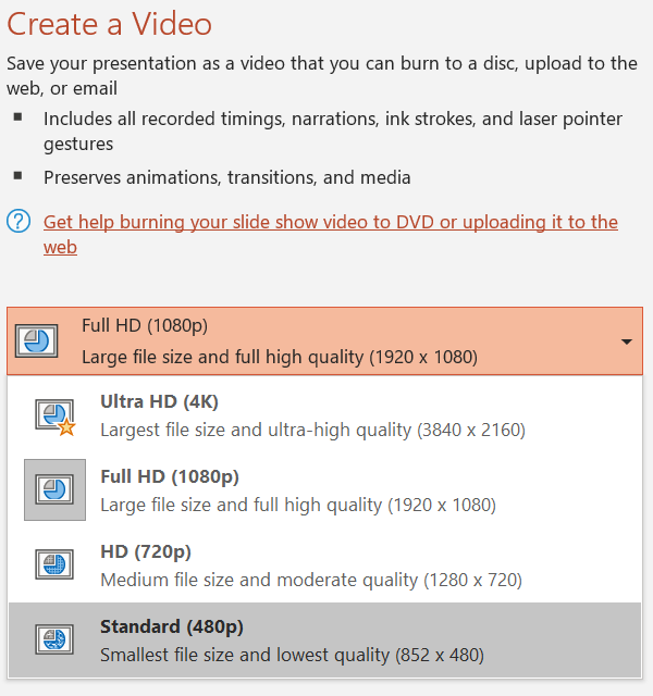 MP4 Video Producing Options in PowerPoint