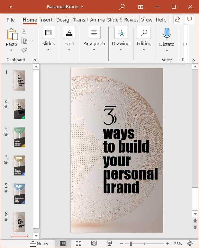 6 Slide PowerPoint Video Template for Pinterest Idea Pin